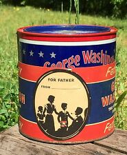 Vintage Rare George Washington Father's Day Pipe Tobacco Tin Great GIFT Idea