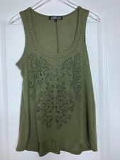 Women's Almost Famous Green Black Studded Tank Top Size Large