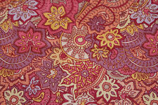 ANDOVER PASSPORT PINK YELLOW PURPLE PAISLEY COTTON FABRIC BTY