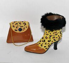 Jc Penney Fur Leopard Cheetah High Heel Boot Shoe w Handbag Purse Ornaments