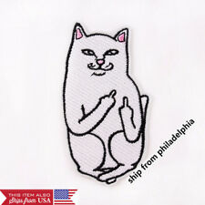 Embroidery Funny Middle Finger Cat Sew Iron On Patch Badge Fabric Clothes ( 007)