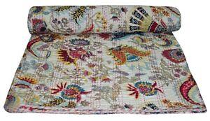 Indian Handmade Kantha Quilt Throw Bedspread Floral White Bedding Hippie Queen