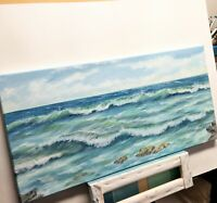 "Art 24""/12"" oil painting,ocean view, waves, seascape, nature, landscape,surf"