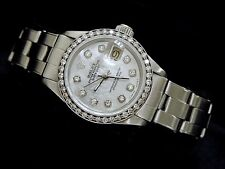 Rolex Datejust Lady SS Stainless Steel Watch .70ct Bezel White MOP Diamond Dial