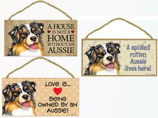 "Aussie Dog Sign Plaque 10""x5"" House not Home, Spoiled Australian Shepherd Love"