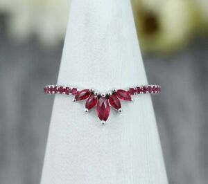 0.40 Ct Marquise Cut Ruby Curved Matching Wedding Band Ring 14K White Gold Over