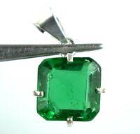 Emerald Cut 20-22 Ct Natural Muzo Emerald 925 Sterling Silver Pendant Certified