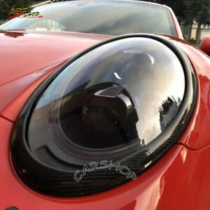 For Porsche 911 991 11-18 Dry Real Carbon Fiber Front Head Light Cover Trim