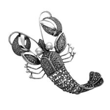 Pin w/Fwp Eyes Mpn236 Sterling Silver & Marcasite Lobster