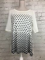 NEXT - Cream Black 1/2 Sleeve Checked Pattern Top T-Shirt - Womens - Size 16