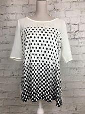 Next Women's Top 1/2 Sleeve Checked Pattern Cream Black Size UK 16 US 12