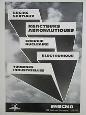 2/1966 PUB SNECMA MOTEURS AVIATION REACTEUR ELECTRONIQUE TURBINE NUCLEAIRE AD