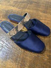 Rachel Comey Flat Mules Slides Snake Skin Satan Shoes Slip Ons Size 10