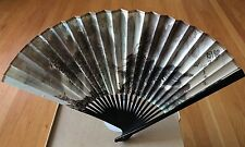 Chinese Airlines CAAC Vintage Hand Fan-Paper.Estate Sale.Scenery/boat