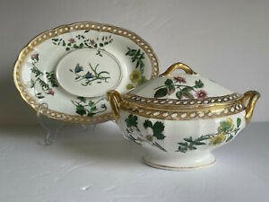 Antique Early Wedgwood Porcelain Sauce TUREEN and Tray Transfer Print 19thC