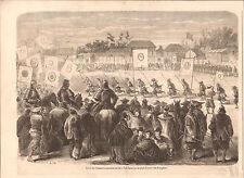 Japan Parade Infantry Yokohama Samourai Samurai Japon GRAVURE OLD PRINT 1865