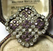 ANTIQUE VINTAGE JEWELLERY EDWARDIAN AMETHYST PASTE CRYSTAL LACE SHAWL PIN BROOCH