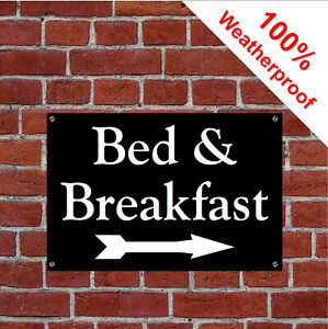 B&B sign with right facing arrow sign Hotel Guesthouse Bed and Breakfast 1977WBK