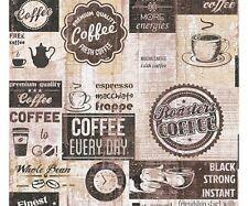 Carta da Parati per cucina   Caffè Vintage Black di alta qualità effetto legno