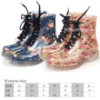 Womens Rain shoes Boots Waterproof lace up Jelly Wellies Martin Ankel Booties