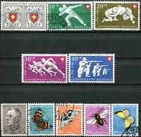 SUISSE N° 497/506 Oblitérés ANNÉE 1950 COMPLÈTE