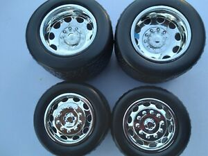 JADA JT 1/24 SCALE WHEELS & TIRES FOR REPAIRING 1955 CHEVY TOWING TRUCK (CHROME)