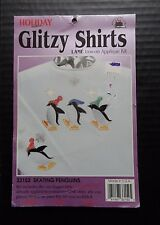 Applique Iron On Skating Penguins Vintage Glitzy Shirt Kit Holiday Lame 33152