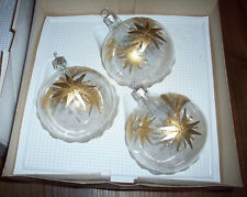 Set 3 Hand Painted Blown Glass Gold Silver Poinsettia Flower Christmas Ornaments