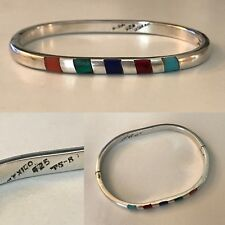 VINTAGE STERLING SILVER MEXICAN TURQUOISE CORAL ETC BANGLE BRACELET