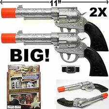 2 TOY COWBOY GUN PISTOL REVOLVER ROBUST AND BIG ADULT KID PLAY SET BELT HOLSTER