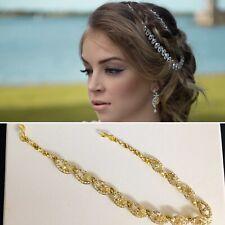 Gold diamante hair chain matha patti hijab wedding boho grecian prom headpiece