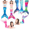 New Kids Girls Adult Women Colorful Mermaid Tail Monofin Filpper Swimmable Wear