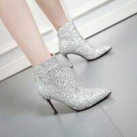 Womens Wedding Formal Pumps High Stilettos Ankle Boots Pointed Toe Shoes mgic