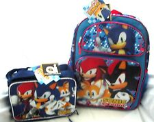 """Blue Sonic the Hedgehog,Knuckles,&Tails 16"""" Backpack & Matching Lunchbox -New!v1"""