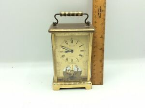 Fantastic Antique Vintage Eurastyle 8day Brass Cased Mechanical Carriage Clock