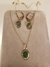 14k Yellow Gold NATURAL AVENTURINE GEMSTONE GREEN SET EARRINGS NECKLACE 18""