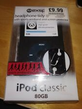 iPod classic 80GB black silicone skin,headphone tidy, armband & screen protector
