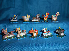 CAROUSEL ANIMALS Set of 10 Mini Figurines FRENCH Porcelain FEVES Merry-Go-Round
