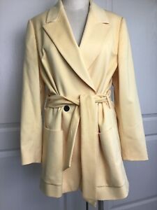 Escada Margaretha  Ley women's wool cashmere blend belted yellow Overcoat 42