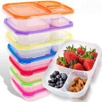Portable Meal Prep Containers 3-Compartment Lunch Boxes Food Storage & Lids--