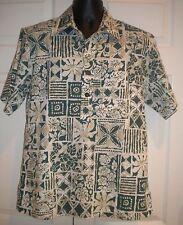 Kalani Designs Men's Shirt Short Sleeve Green Flowers Leaves made in Hawaii sz M