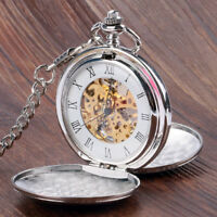Silver Smooth Hand Wind Mechanical Double Full Hunter Skeleton Pocket Watch Gift
