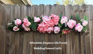 """35"""" Arch Swag Artificial Roses Peony Silk Flowers Wedding Hanging BackDrop Fake"""