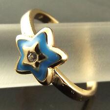 Ring Genuine Real 18k Yellow G/F Gold Diamond Simulated Blue Enamel Star Design