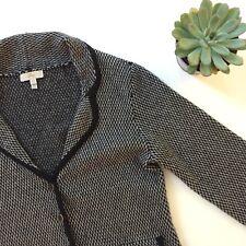 JOIE Women's Size M SWEATER Blazer Black Merino WOOL CASHMERE POCKET Button Down