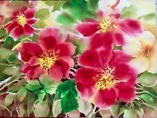 9 X 12 Original Pamela Wilhelm Watercolor Red Yellow Green Loose Floral Painting