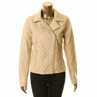 CALVIN KLEIN Women's Faux Leather Quilted Mix Motorcycle Jacket Top TEDO