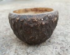 Old Early Primitive Handmade Stone Unique Design Engraved Bowl , Rich Patina