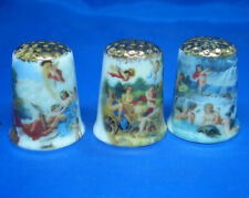Birchcroft Thimbles -- Set of Three  -- Gold Top Michelangelo Paintings