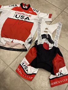 2 Lot Red  Racing DNA Cycling Bib Shorts Jersey Bike Suit XL Pro